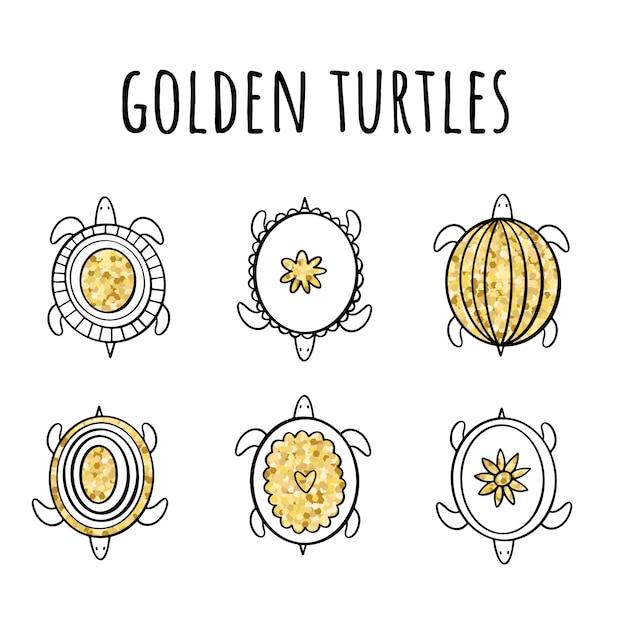 Insieme di vettore delle tartarughe dorate nello stile di doodle Vettore Premium