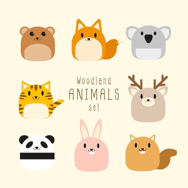 Insieme di vettore di animali di bosco paffuto carino. Vettore Premium