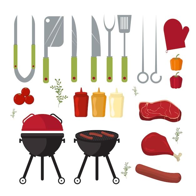 Insieme di vettore di barbecue e grill all'aperto strumenti di cottura Vettore Premium