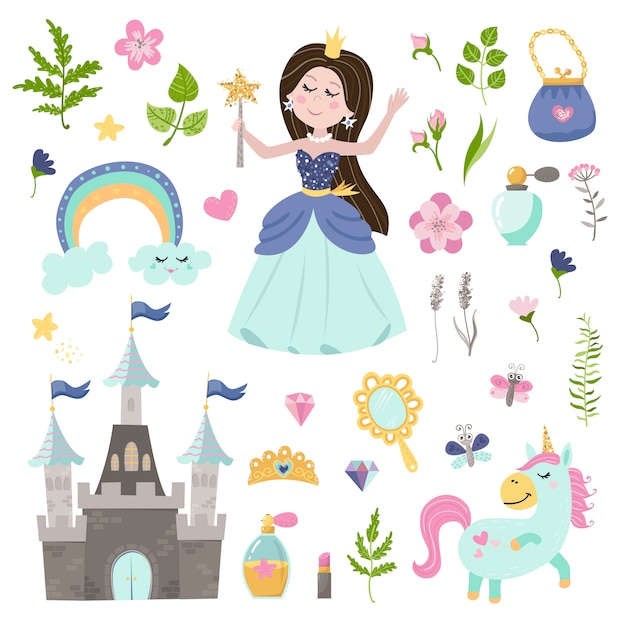 Insieme di vettore di bella principessa, castello, unicorno e accessori Vettore Premium