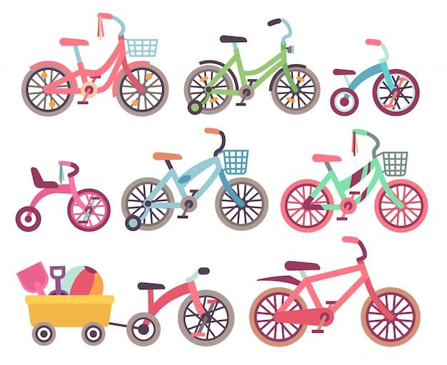 Insieme di vettore di biciclette per bambini. collezione di biciclette per bambini Vettore Premium
