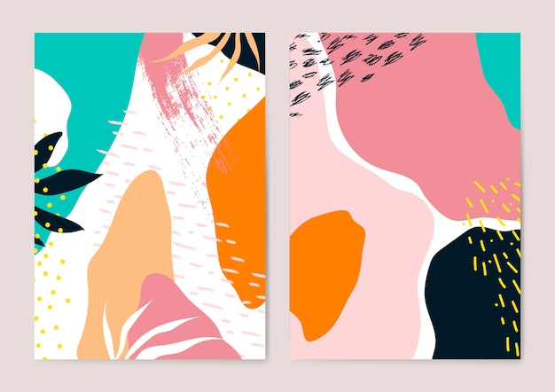 Insieme di vettore di carte colorate stile memphis Vettore gratuito