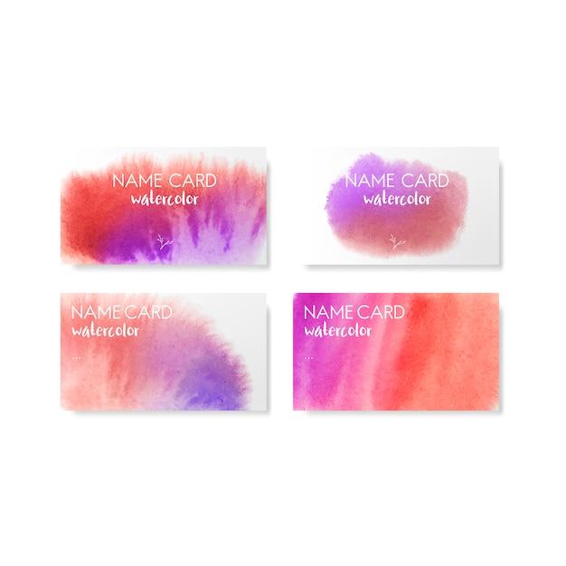 Insieme di vettore di carte stile acquerello rosso e viola Vettore gratuito