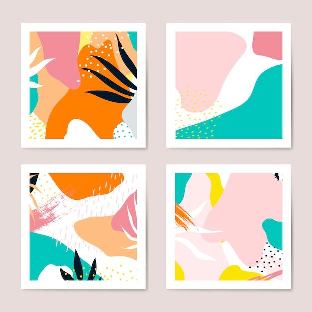 Insieme di vettore di carte stile colorato memphis Vettore gratuito