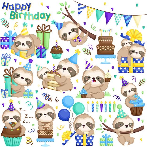 Insieme di vettore di compleanno di bradipo Vettore Premium