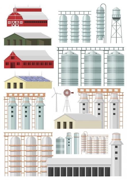 Insieme di vettore di costruzioni e costruzioni di fattoria Vettore Premium