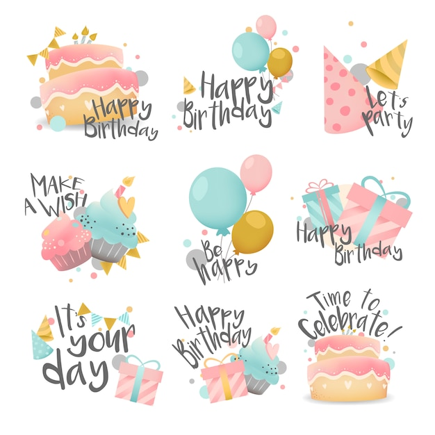 Insieme di vettore di disegno di auguri di compleanno Vettore gratuito