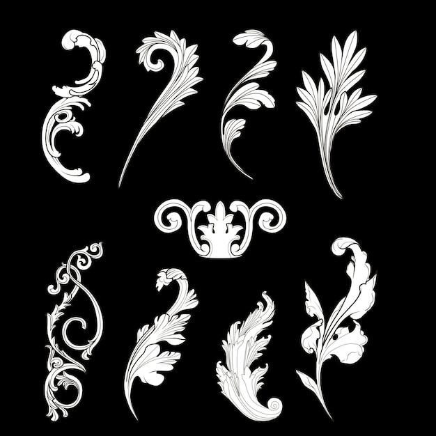 Insieme di vettore di elementi barocco bianco Vettore gratuito