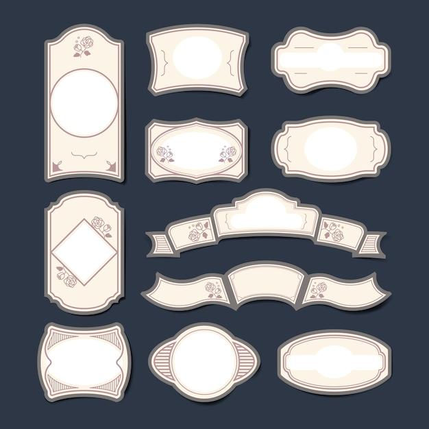 Insieme di vettore di etichette autoadesivo in bianco dell'annata Vettore gratuito
