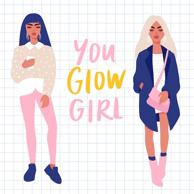 Insieme di vettore di giovani donne ragazze alla moda in vestiti alla moda isolati Vettore Premium