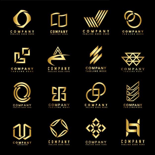 Insieme di vettore di idee di progettazione di logo dell'azienda Vettore gratuito