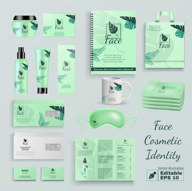 Insieme di vettore di identità del prodotto cosmetico viso Vettore Premium