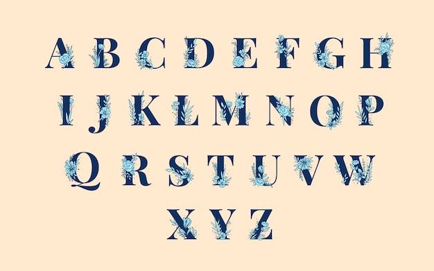 Insieme di vettore di lettere maiuscole alfabeto botanico Vettore gratuito