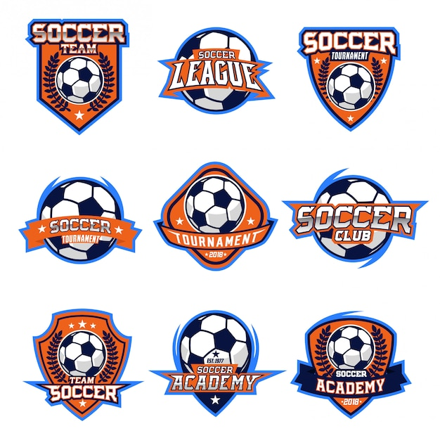 Insieme di vettore di logo di calcio Vettore Premium