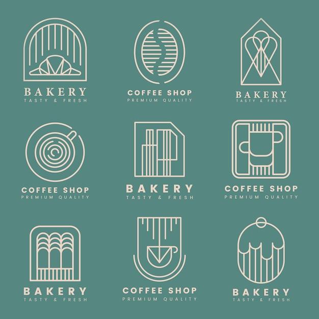 Insieme di vettore di logo di pasticceria e caffè Vettore gratuito