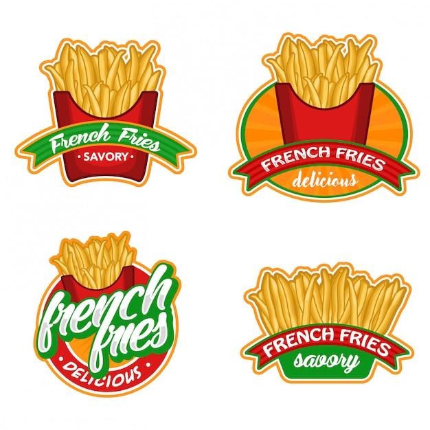 Insieme di vettore di logo di patatine fritte Vettore Premium
