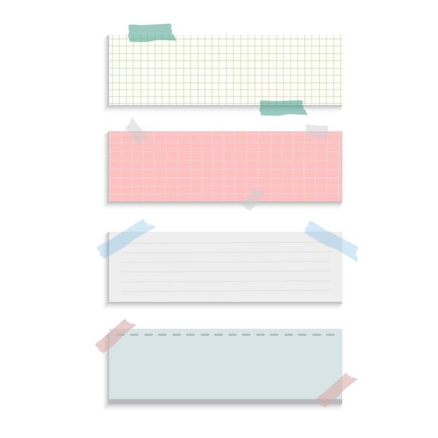 Insieme di vettore di note di carta di promemoria di rettangolo Vettore gratuito