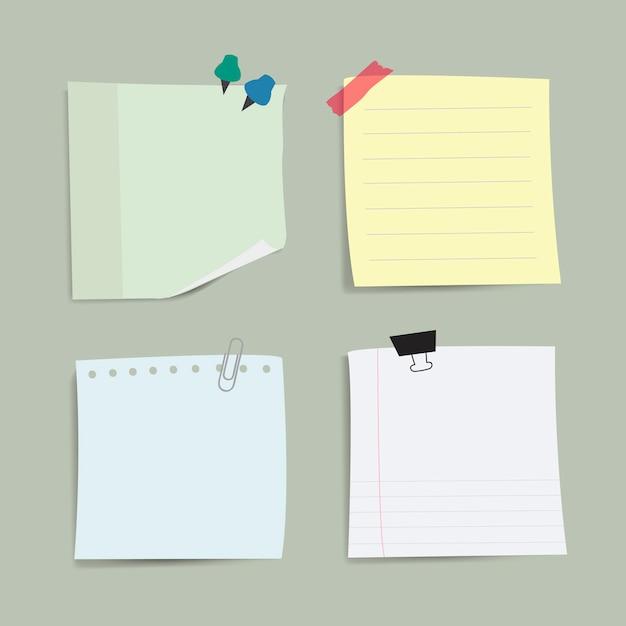 Insieme di vettore di note di carta vuoto promemoria Vettore gratuito