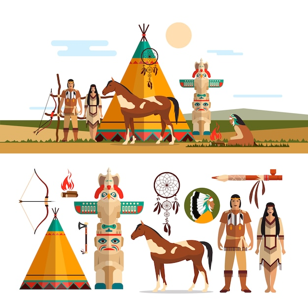 Insieme di vettore di oggetti tribali indiani americani, elementi di design in stile piano. maschio e femmina indiano, totem e camino. Vettore Premium