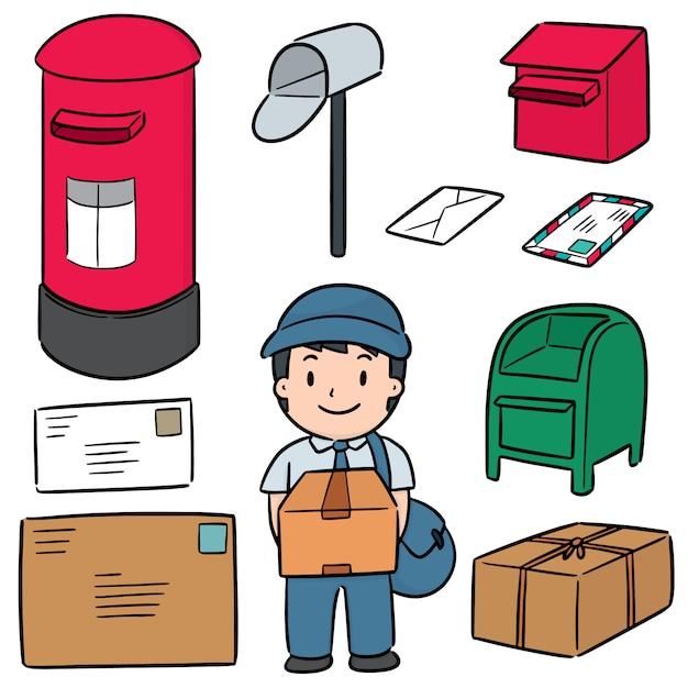 Insieme di vettore di postino e postbox Vettore Premium