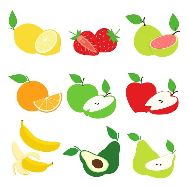 Insieme di vettore di progettazione della raccolta della fetta della frutta e della frutta Vettore Premium