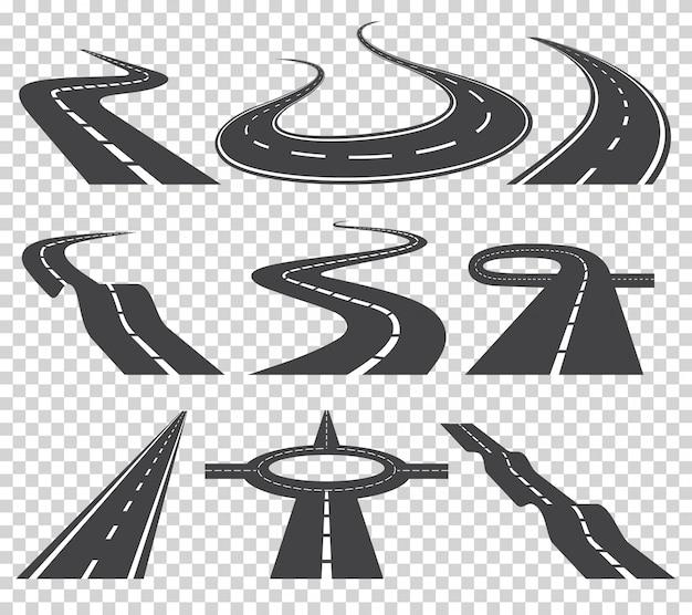 Insieme di vettore di strade curve. strada asfaltata o strada principale della strada della strada e di modo. Vettore Premium