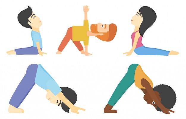 Insieme di vettore di uomini e donne che praticano yoga. Vettore Premium