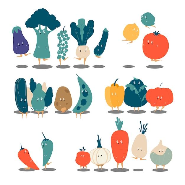 Insieme di vettore di vari personaggi dei cartoni animati di verdure organiche Vettore gratuito