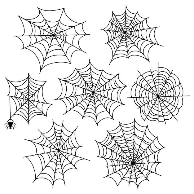 Insieme di vettore di web di ragno di halloween. elementi di decorazione di ragnatela isolati Vettore Premium