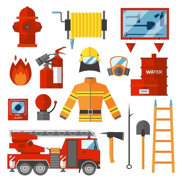 Insieme di vettore icone piane e simboli di sicurezza antincendio del pompiere. Vettore Premium