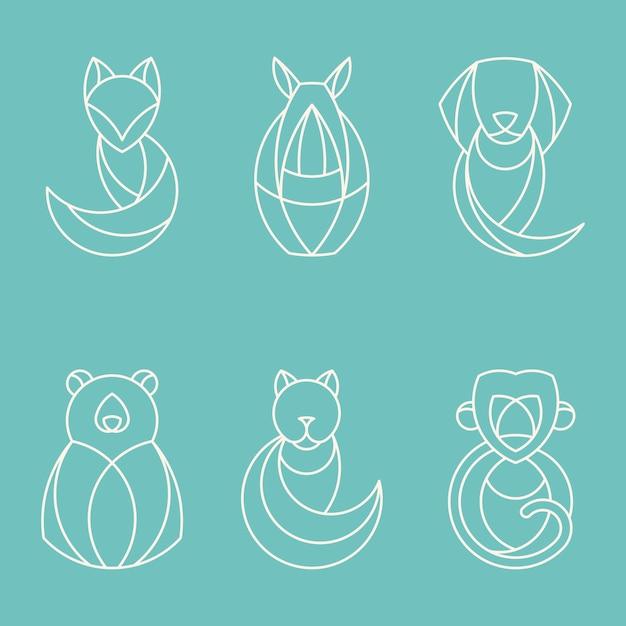 Insieme di vettori animali geometrici lineari Vettore gratuito