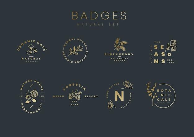 Insieme di vettori di design logo botanico Vettore gratuito
