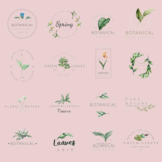 Insieme di vettori di logo di natura e pianta Vettore gratuito