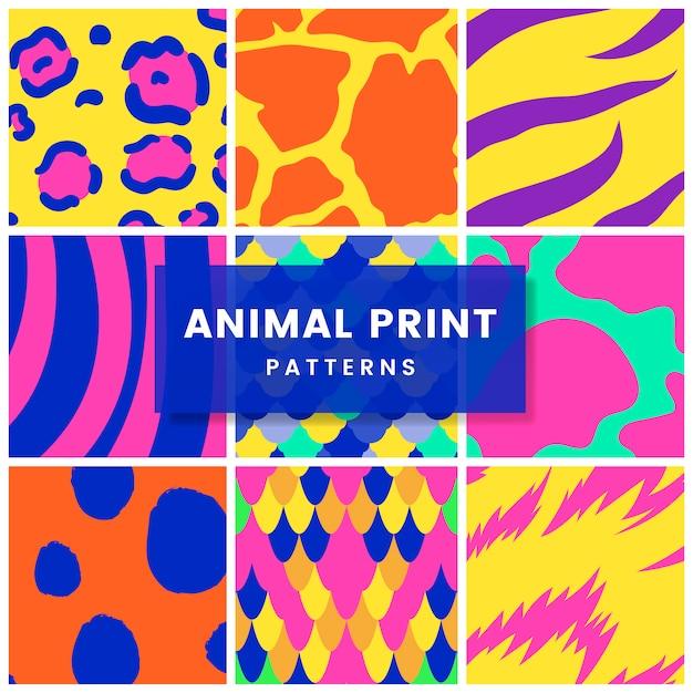 Insieme di vettori di modello di stampa animale senza soluzione di continuità Vettore gratuito