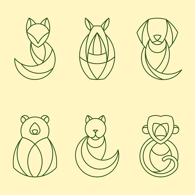 Insieme di vettori geometrici lineari animali Vettore gratuito