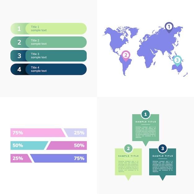 Insieme di vettori infograph business Vettore gratuito