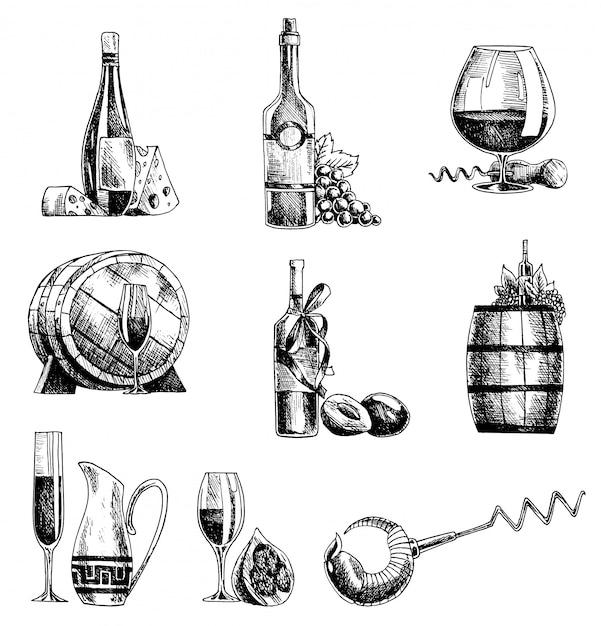 Insieme di vino di vettore schizzo disegnato a mano. bottiglia di vino, vetro, barile, sommelier di cavatappi d'uva Vettore Premium