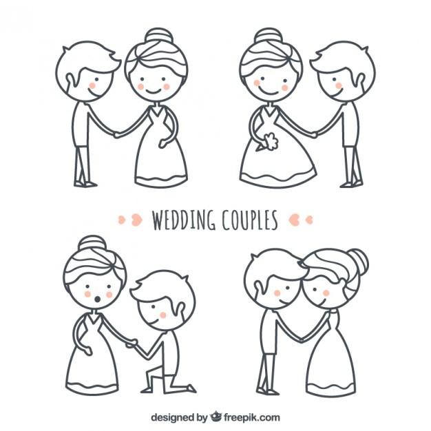 Insieme disegnato a mano bella e bella coppia matrimonio Vettore gratuito