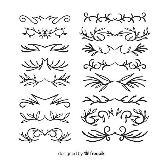 Insieme disegnato a mano del divisore ornamentale Vettore gratuito