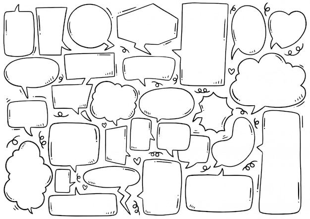 Insieme disegnato a mano del fumetto sveglio nello stile di scarabocchio Vettore Premium