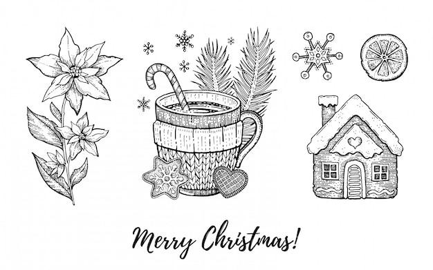 Insieme disegnato a mano dell'icona di scarabocchio di natale. buon natale inciso, felice anno nuovo, schizzo retrò. Vettore Premium