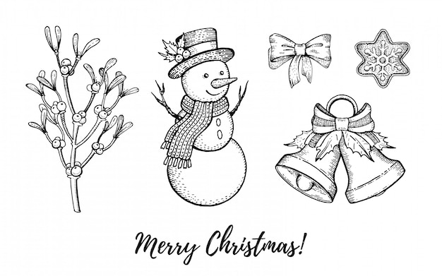 Insieme disegnato a mano dell'icona di scarabocchio di natale. buon natale inciso, felice anno nuovo, stile schizzo retrò. Vettore Premium