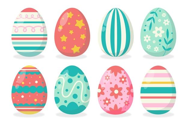 Insieme disegnato a mano dell'uovo di giorno di pasqua Vettore gratuito