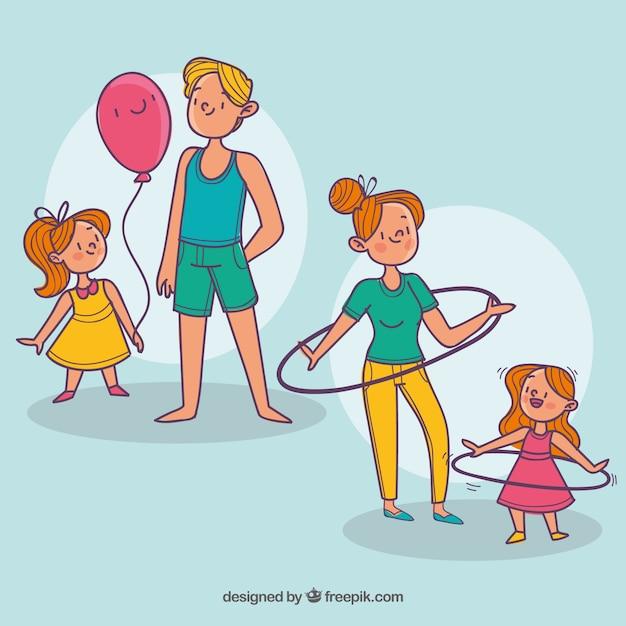 Insieme disegnato a mano delle famiglie facendo diverse attività Vettore gratuito