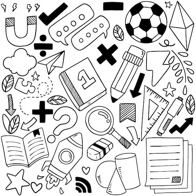 Insieme disegnato a mano delle icone della scuola ornamenti Vettore Premium