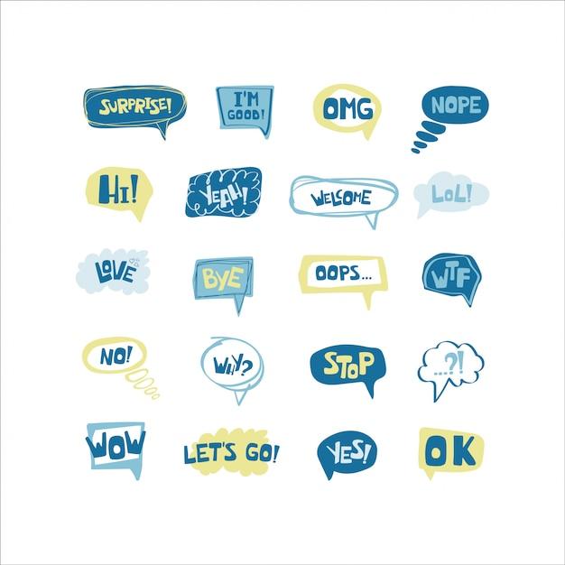 Insieme disegnato a mano di bolle di discorso con brevi frasi scritte a mano Vettore Premium