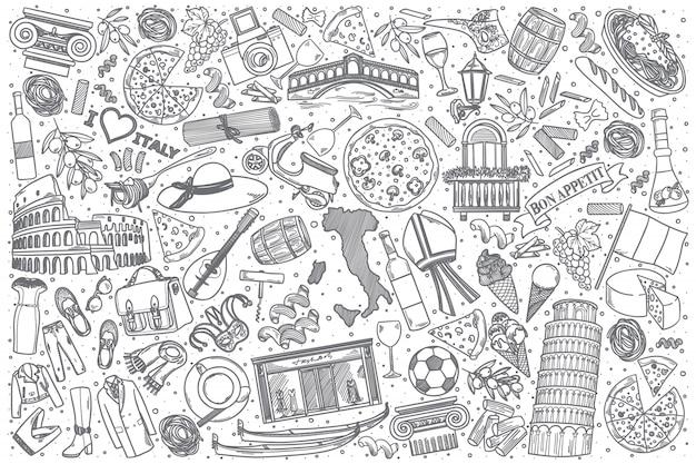 Insieme disegnato a mano di doodle dell'italia Vettore Premium