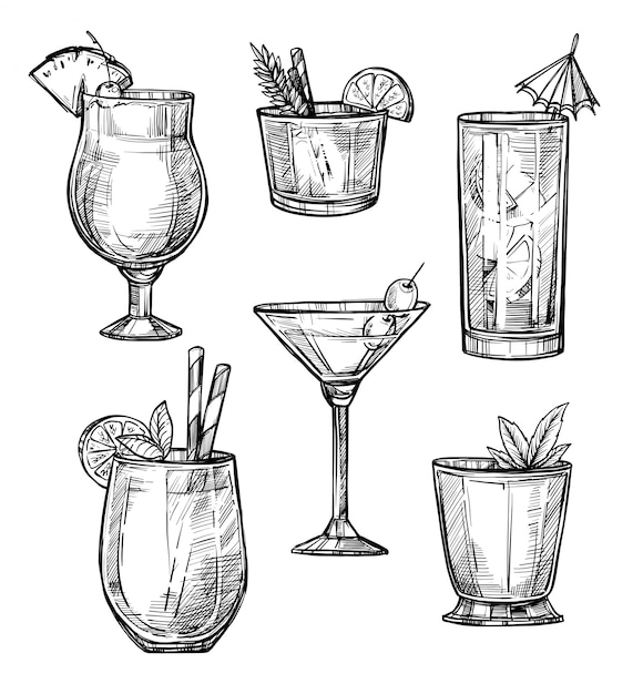 Insieme disegnato a mano di schizzo del cocktail alcolico Vettore Premium