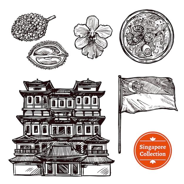 Insieme disegnato a mano di schizzo di singapore Vettore gratuito