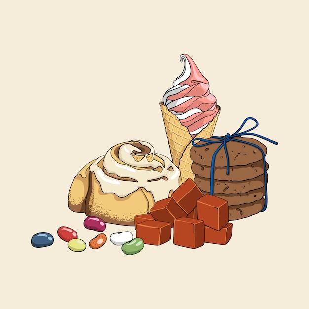 Insieme disegnato a mano isoleted variopinto di dolci Vettore Premium